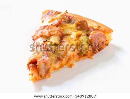 pizza slice isolated - stock photo