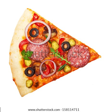Pizza slice isolated on white background. - stock photo
