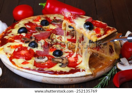 Pizza slice with melted cheese on lifter - stock photo