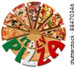 Pizza slices on the cutting board and written Italy Pizza - stock photo