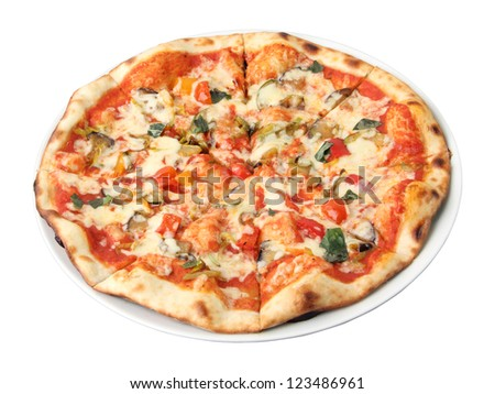 Pizza vegetarian on a white dish isolated over white background. Side view.