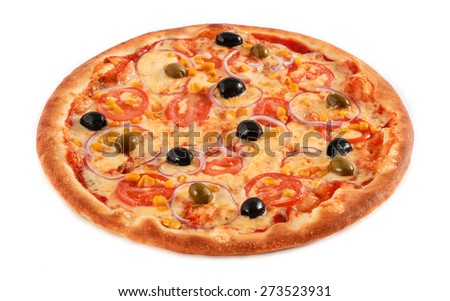 Pizza Vegetarian with tomatoes, corn, onion, green and black olives isolated on white