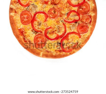 Pizza Vegetarian with tomatoes, red peppers and mushrooms isolated on white