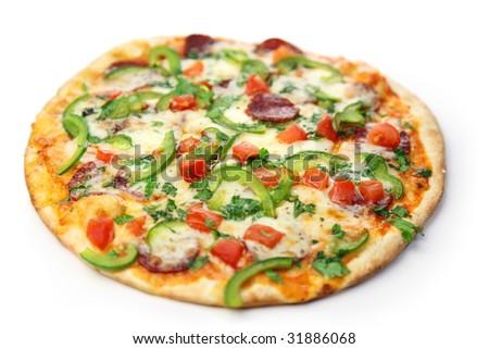 pizza / white background - stock photo