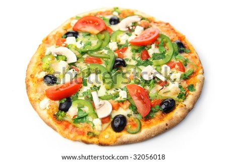 pizza / white background - stock photo