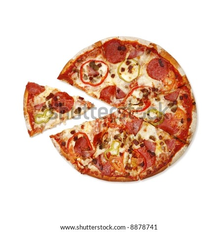 Pizza with a slice - stock photo