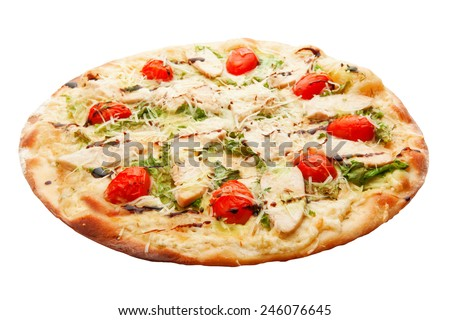 Pizza with bacon, cheese, tomato and salad isolated on white background - stock photo
