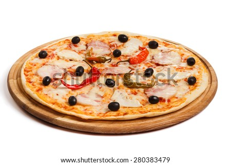 Pizza with bacon, ham, olive and chili pepper, on white background
