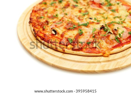 Pizza with Bacon on White Background