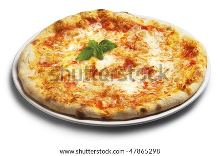 Pizza  with basil - stock photo
