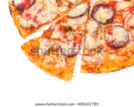 Pizza with cheese and ham isolated on white - stock photo