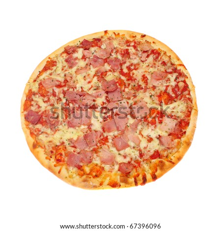 pizza with cheese and meat with seasoning hot - stock photo