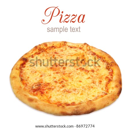 Pizza with cheese isolated on white background - stock photo