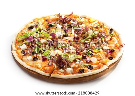 Pizza with Cheese, Olives, Tomatoes and Salad Leaves - stock photo