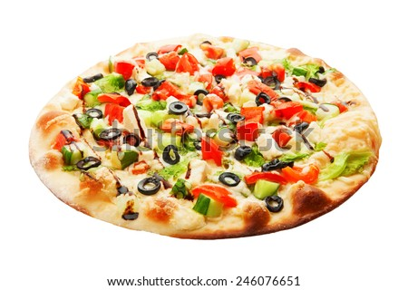 Pizza with cucumbers, olives, cheese, tomato and salad isolated on white background