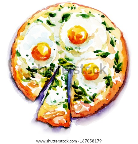 pizza with eggs and seafood. watercolor painting on white background - stock photo
