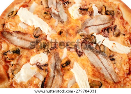 Pizza with fish eel, shrimp, mussel, squid and cream cheese isolated on white background. Italian cuisine - stock photo