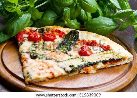 pizza with grilled vegetables - stock photo