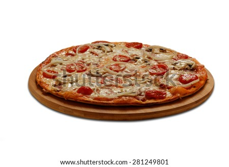 Pizza with ham and bacon. On white background
