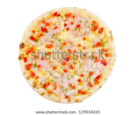 pizza with ham, fish, cheese, paprika and cucumber, isolated