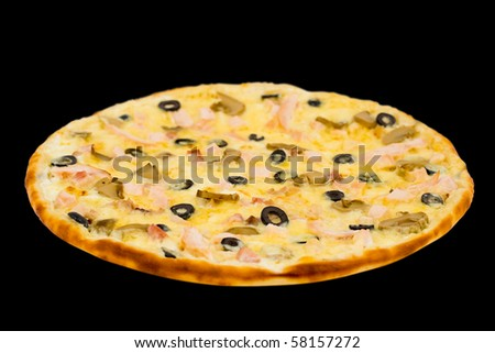 pizza with ham, mushrooms and olives, on black, clipping path - stock photo
