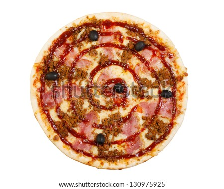 pizza with ham, olives, tomato and spicy sauce, chopped meat, isolated, top view