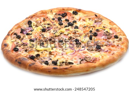 Pizza with ham, onion and olives
