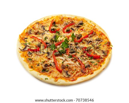 Pizza with Ham Slice, Mushrooms and Bell Pepper - stock photo