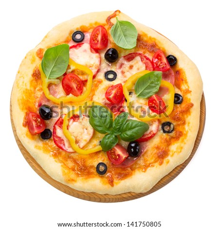 Pizza with ham, tomato and olives isolated on white background. Top view. - stock photo