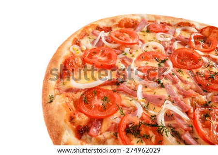 Pizza with ham, tomatoes, onion and greens isolated on white - stock photo