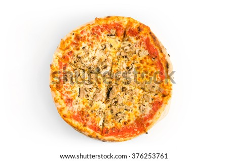Pizza with ketchup, ham, mushrooms and melted cheese - stock photo