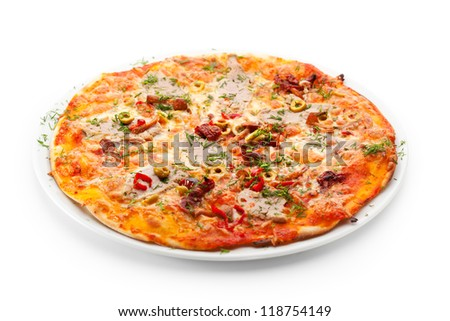 Pizza with Meats, Vegetables and Mushrooms - stock photo
