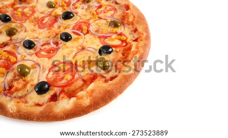Pizza with Mozzarella Cheese and Fresh Tomato and Sauce. Garnished with baked Tomato, Green and Black Olives and Corn isolated on white