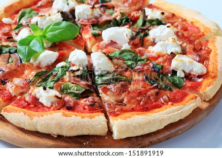 Pizza with mozzarella cheese, fresh tomato and spinach - stock photo