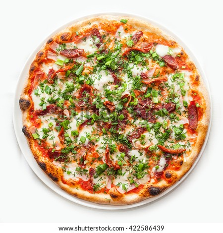 Pizza with mozzarella, Italian sausage, ham, cheese, dried tomatoes, green onions and parsley - stock photo