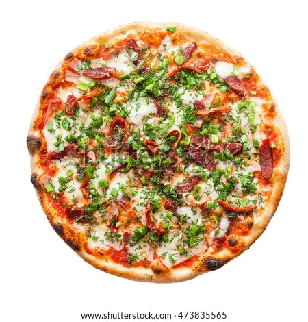 Pizza with mozzarella, Italian sausage, ham, cheese, dried tomatoes, green onions and parsley on a white background