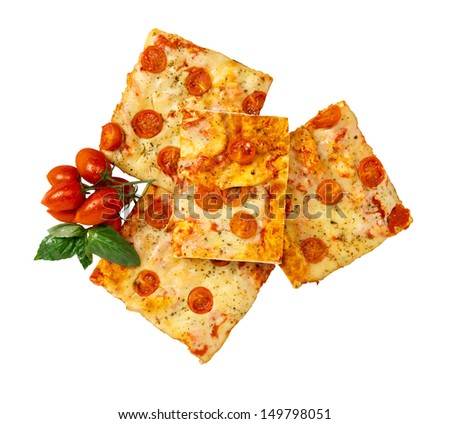 Pizza with mozzarellla and tomatoes - stock photo