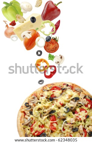 Pizza with mushrooms and chicken - stock photo