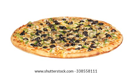 pizza with mushrooms black olives onions green pepper isolated on white background - stock photo