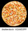 pizza with mushrooms, green peas, paprika and corn, clipping path - stock photo