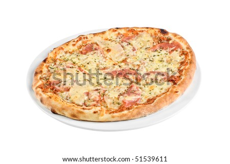 Pizza with mushrooms, ham isolated on white background - stock photo