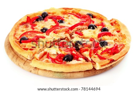 Pizza with olives and tomatoes closeup - stock photo