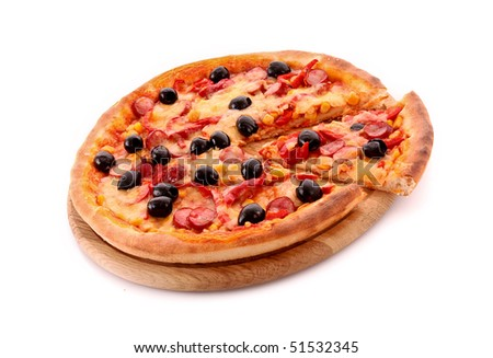 Pizza with olives on wooden plate isolated on white