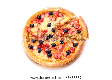 Pizza with olives on wooden plate isolated on white - stock photo