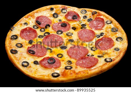 pizza with peperoni and black olive rings, isolated
