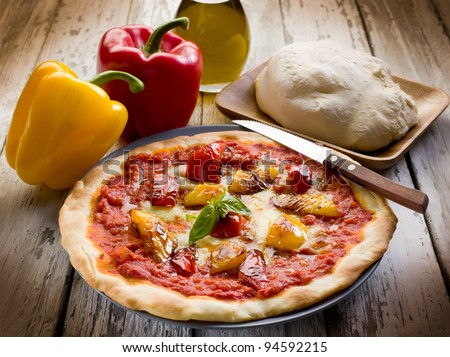 pizza with pepper - stock photo