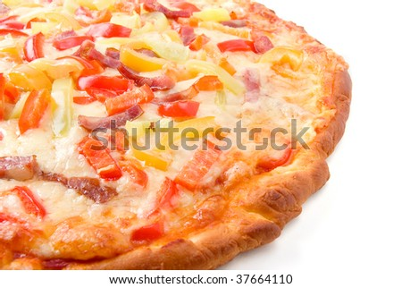 pizza with pepper. close up.isolated on a white background.