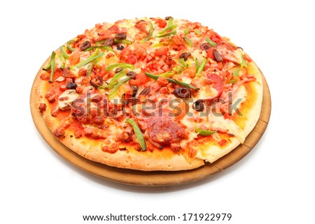 pizza with pepperoni, bell peppers, black olives isolated on white