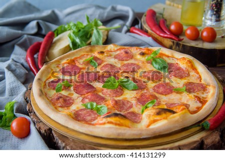 pizza with salami and chili