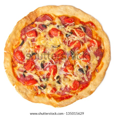 pizza with salami and tomatoes isolated on white background - stock photo